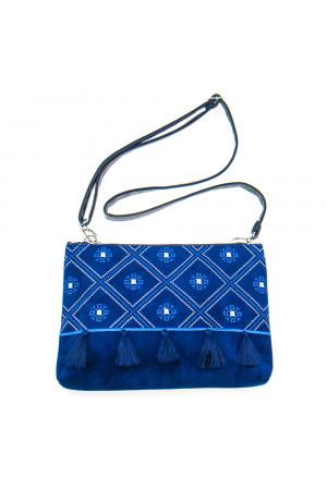 Вышитая сумка ярко-синего цвета «Колокольчик»