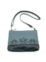 Вишита сумка сірого кольору «Верба»
