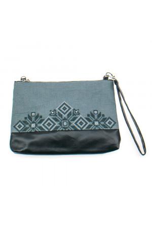 Вышитая сумка серого цвета «Верба»