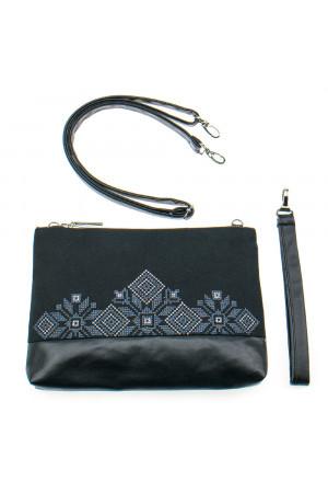 Вышитая сумка черного цвета «Верба»