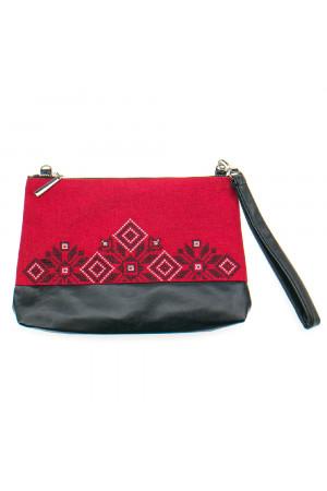 Вышитая сумка красного цвета «Верба»