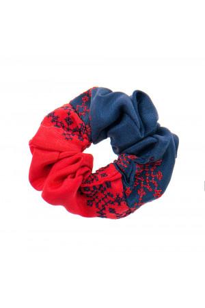 Вышитая резинка для волос синяя с красным