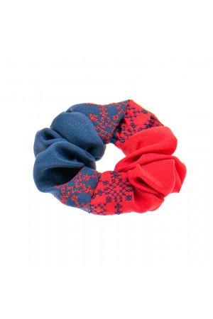 Вишита резинка для волосся синя з червоним