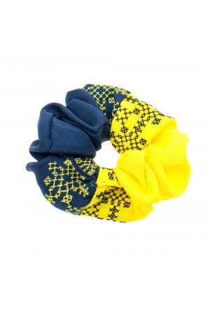 Вишита резинка для волосся жовта з темно-синім