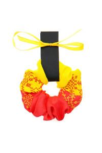 Вышитая резинка для волос красная с желтым