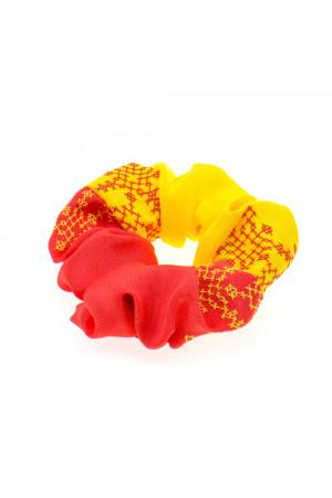Вишита резинка для волосся червона з жовтим