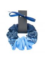 Вышитая резинка для волос синяя с голубым