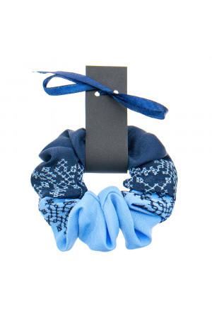 Вишита резинка для волосся синя з блакитним