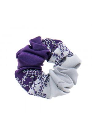 Вышитая резинка для волос фиолетовая с серым