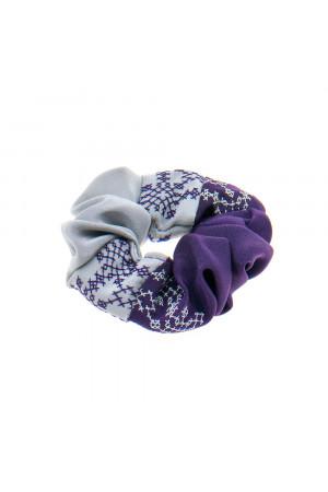 Вишита резинка для волосся фіолетова з сірим