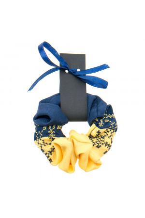 Вышитая резинка для волос желтая с синим