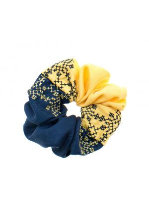 Вишита резинка для волосся синя з жовтим