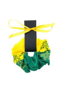 Вышитая резинка для волос желтая с зеленым