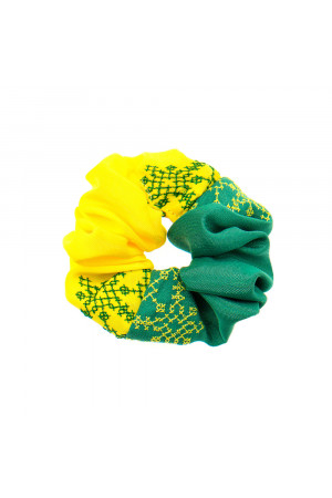 Вишита резинка для волосся зелена з жовтим