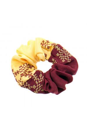 Вишита резинка для волосся бордова з жовтим