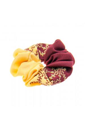 Вышитая резинка для волос бордовая с желтым