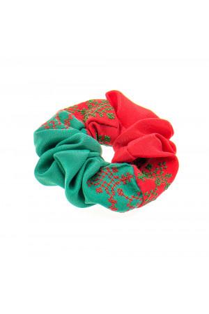Вышитая резинка для волос красная с зеленым