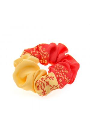 Вишита резинка для волосся морквяна з жовтим