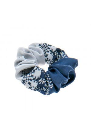 Вишита резинка для волосся синя з сірим