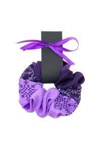 Вишита резинка для волосся бузкова з фіолетовим