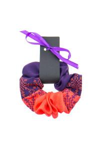 Вишита резинка для волосся морквяна з фіолетовим