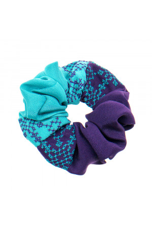 Вишита резинка для волосся фіолетова з бірюзовим