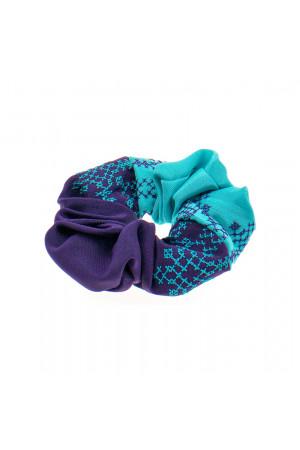 Вышитая резинка для волос фиолетовая с бирюзовым
