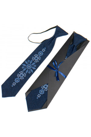 Детский галстук «Адриян» темно-синего цвета с вышивкой