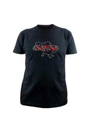 Вишита футболка «Орнамент» чорного кольору з червоно-білою вишивкою