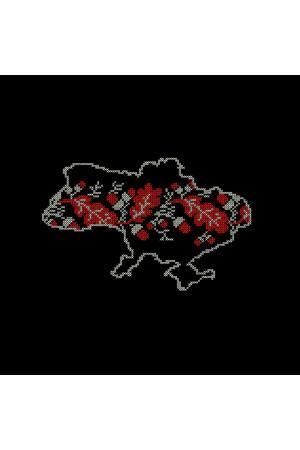Вышитая футболка «Орнамент» черного цвета с красно-белой вышивкой