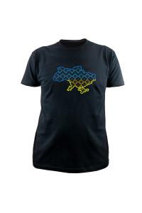 Вишита футболка «Орнамент» чорного кольору з жовто-блакитною вишивкою