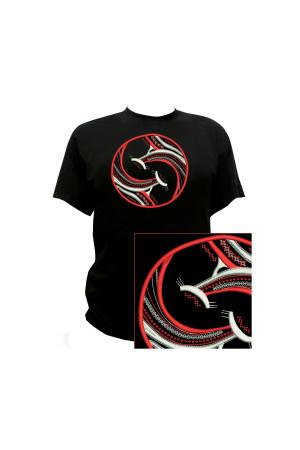 Вышитая футболка «Дрымба» черного цвета