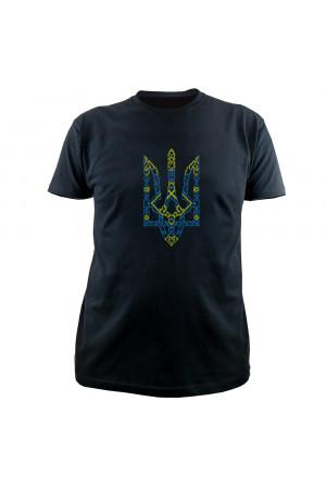 Вишита футболка «Тризуб» чорного кольору