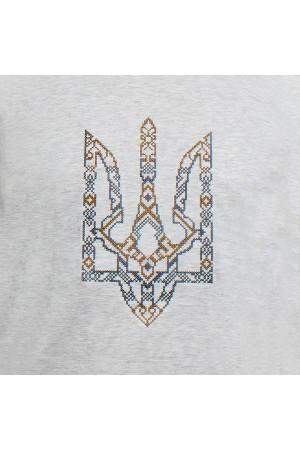 Вышитая футболка «Тризуб» серого цвета