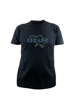Вишита футболка «Ukraine» чорного кольору