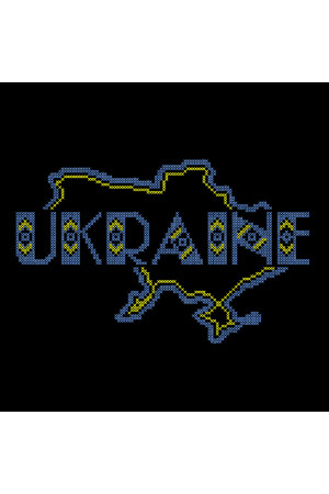 Вышитая футболка «Ukraine» черного цвета