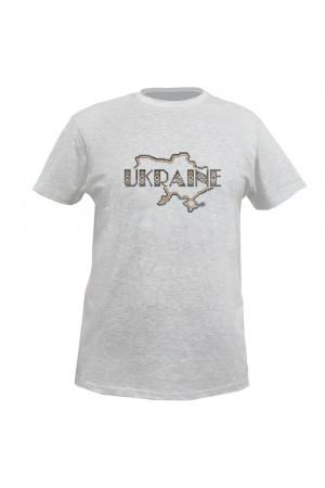 Вышитая футболка «Ukraine» серого цвета