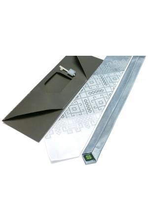 Вышитый галстук и зажим «Трио» серого цвета