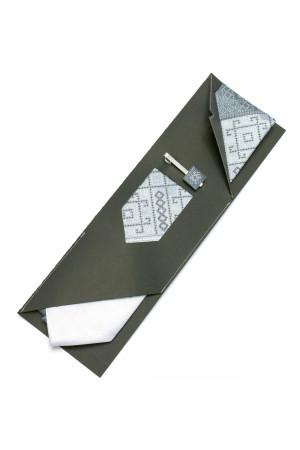 Вишита краватка та зажим «Тріо» сірого кольору