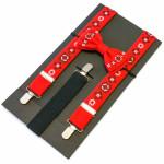 Комплект: краватка-метелик та підтяжки червоного кольору
