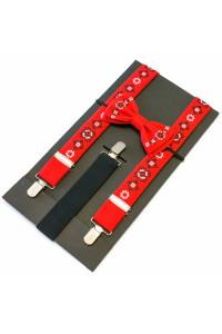 Комплект для хлопчика: краватка-метелик та підтяжки червоного кольору