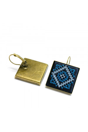 Сережки «Нева» з вишивкою