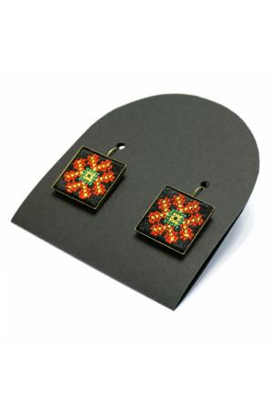 Сережки «Чарівниця» з вишивкою