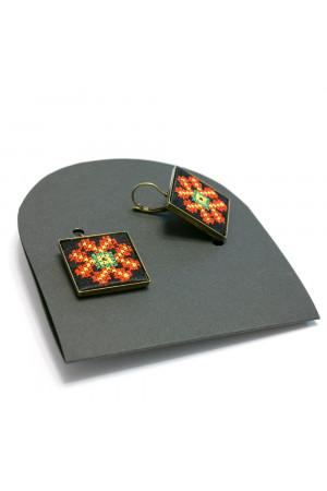 Серьги «Волшебница» с вышивкой