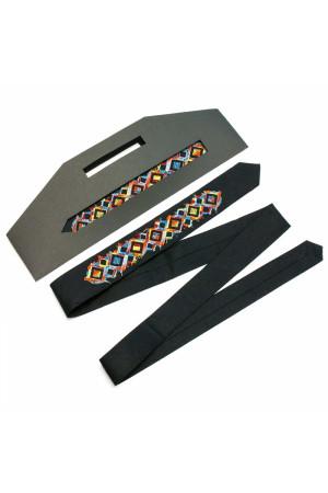 Вузька краватка «Арт» з червоно-синьо-жовтою вишивкою