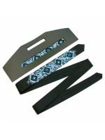 Вузька краватка «Арт» з синьо-блакитною вишивкою