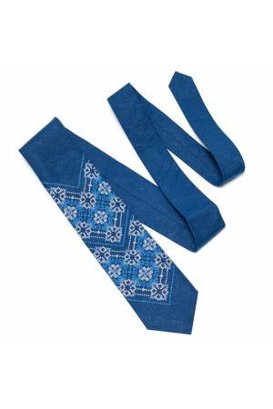Краватка з льону «Синевир» синього кольору