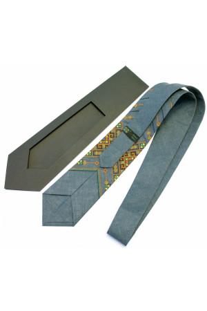 Вышитый галстук из льна «Хот»