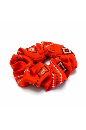 Резинка для волосся червоного кольору з вишивкою