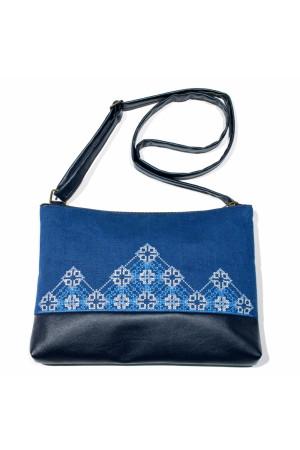 Вышитая сумка синего цвета «Диброва»